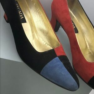 Escada color block Shoes Pump Kitten Heel Sz 8.B